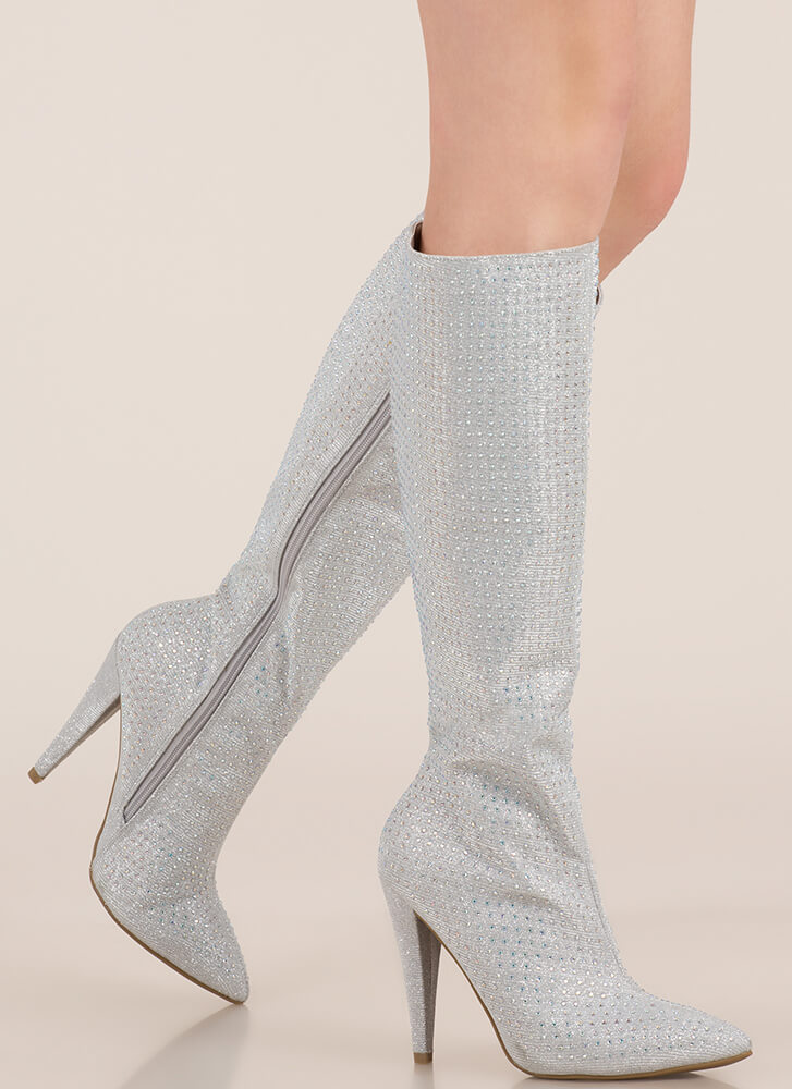 Crown Jewel Knee-High Rhinestone Boots SILVER