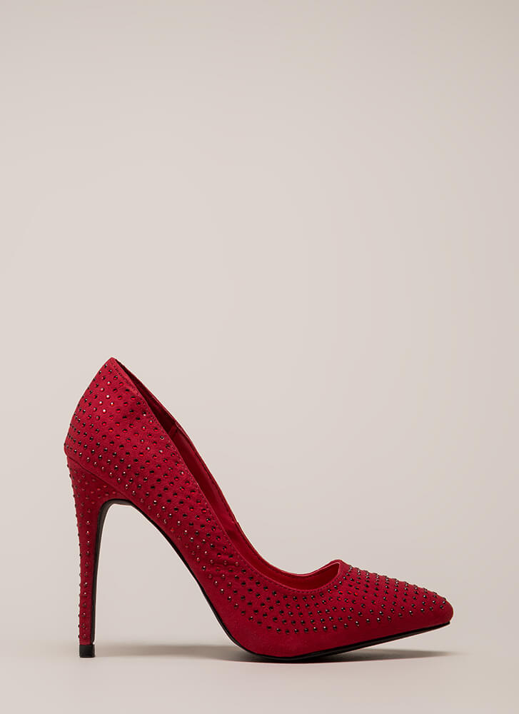 Rock Rhinestones Pointy Faux Suede Pumps RED