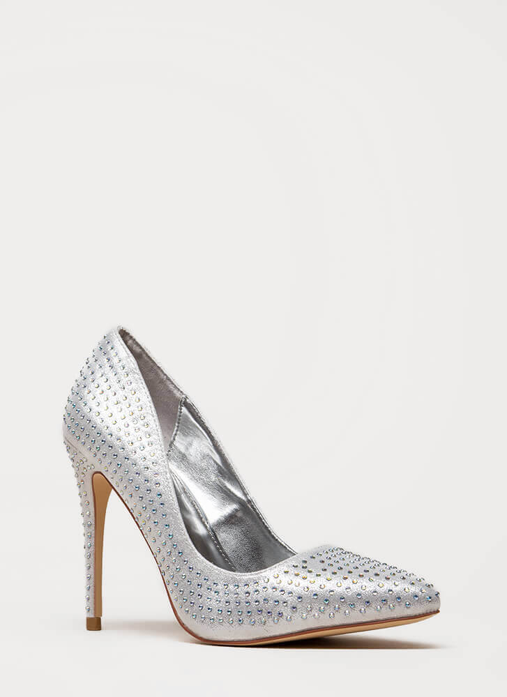 Rock Rhinestones Pointy Metallic Pumps SILVER
