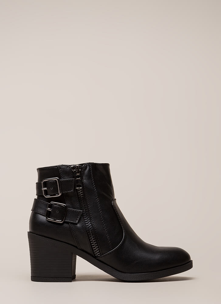 Strapped In And Ready Block Heel Booties BLACK