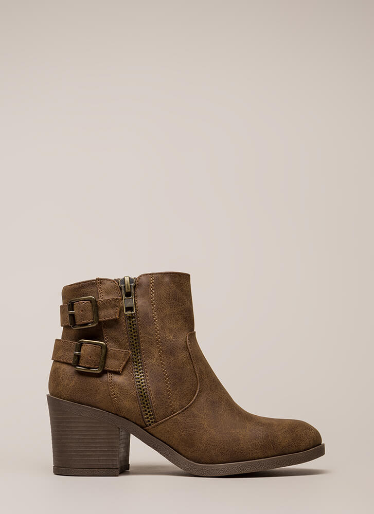 Strapped In And Ready Chunky Booties CAMEL
