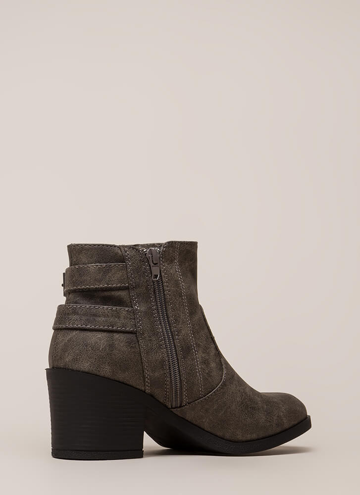 Strapped In And Ready Chunky Booties GREY