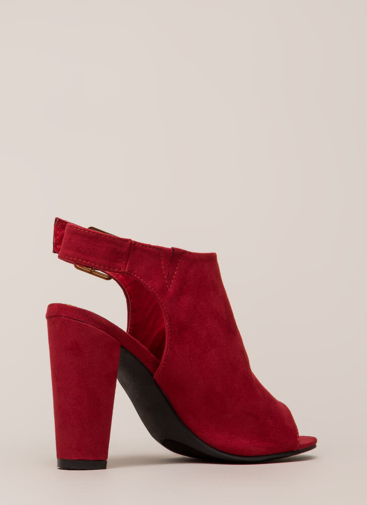 Frenzy Chunky Cut-Out Peep-Toe Heels RED