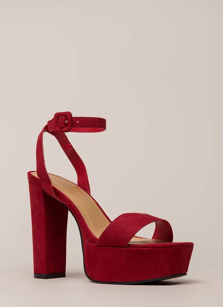 Tall Order Chunky Faux Suede Platforms RED