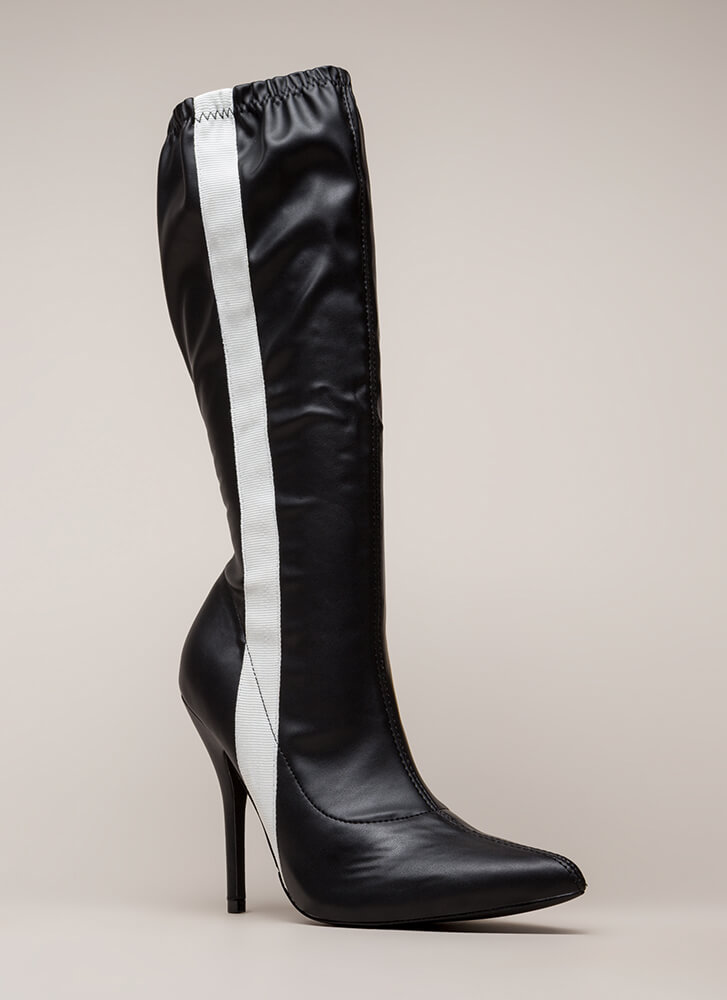 Sporty Stripe Pointy Knee-High Boots BLACK