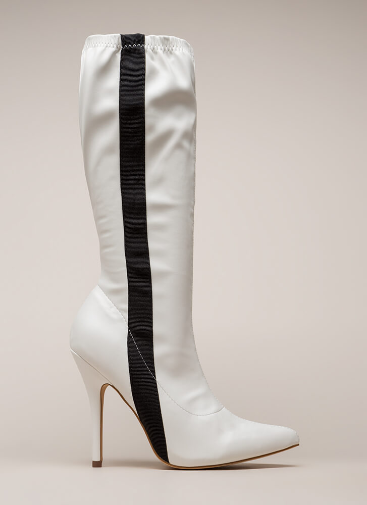 Sporty Stripe Pointy Knee-High Boots WHITE