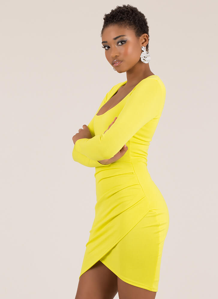 All Your Curves Tulip Hem Dress YELLOW