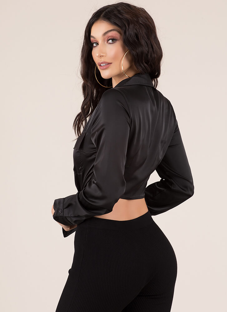 Knot Today Satin Button-Up Crop Top BLACK