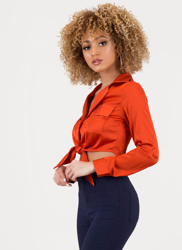 Knot Today Satin Button-Up Crop Top RUST
