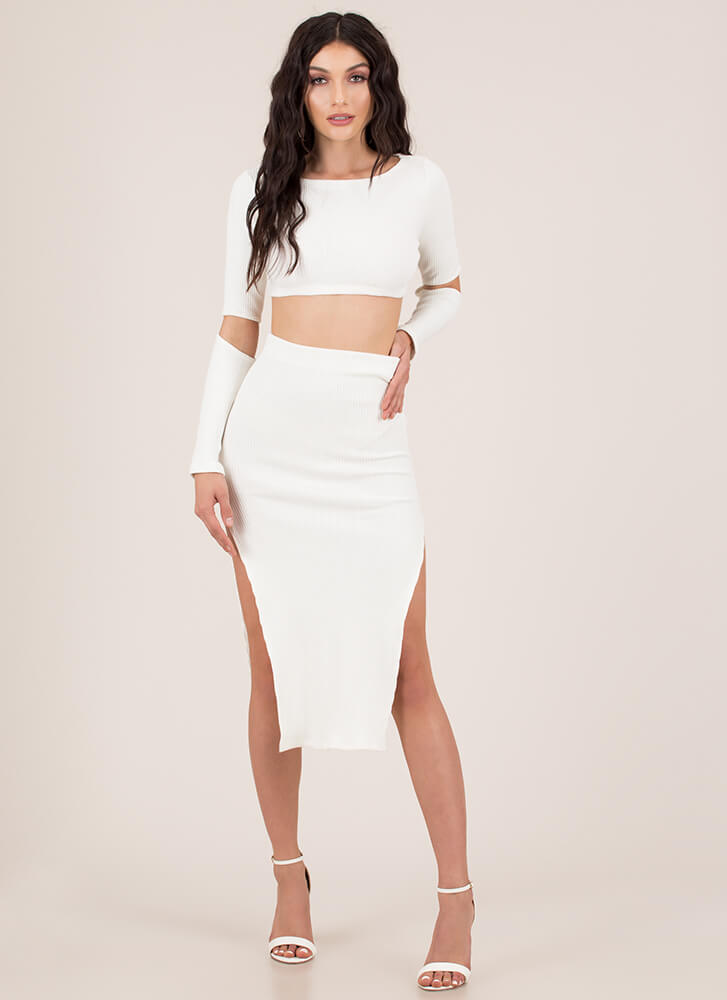 Elbow Your Way Slit 2-Piece Dress IVORY