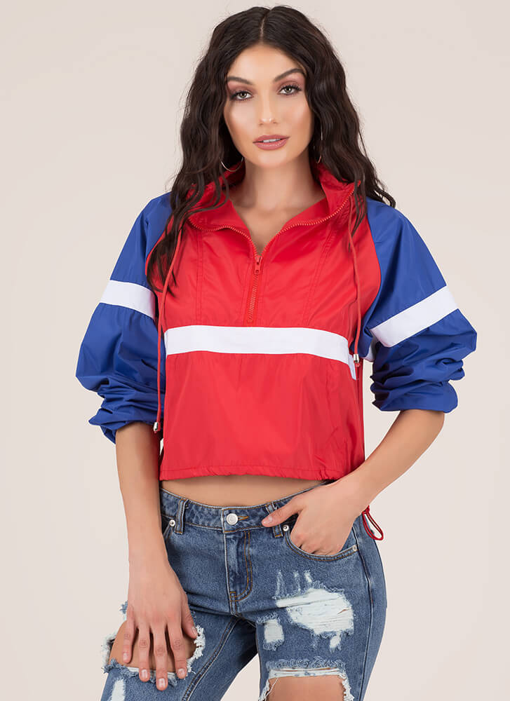Cool It Striped Colorblock Windbreaker REDMULTI