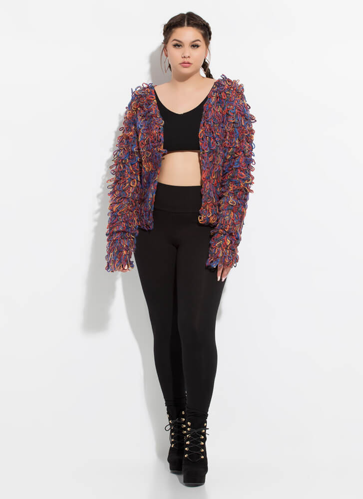 Keep Me In The Loop Shaggy Knit Cardigan MULTI