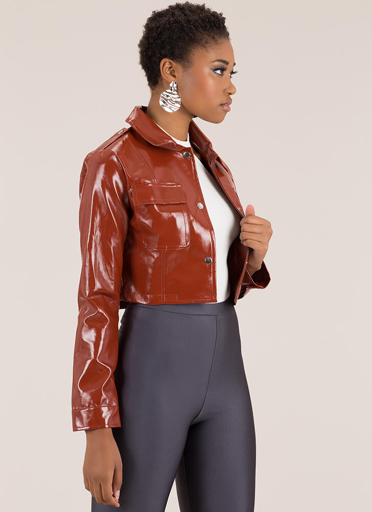 Chic City Cropped Faux Patent Jacket RUST