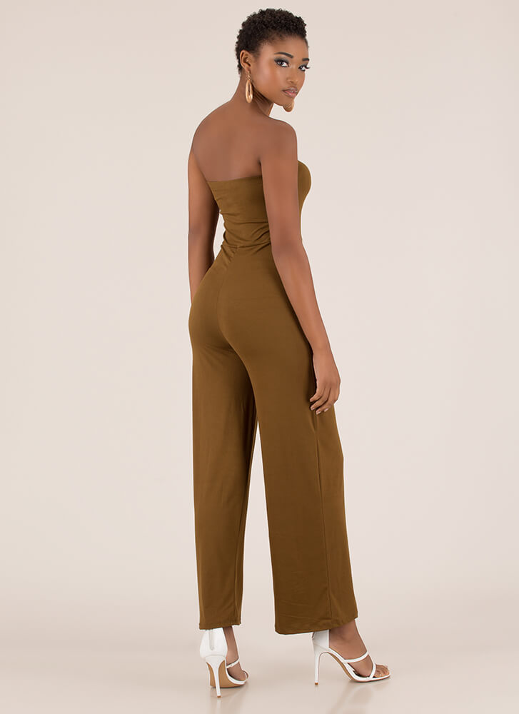 It's On Strapless Wide-Leg Jumpsuit LTBROWN