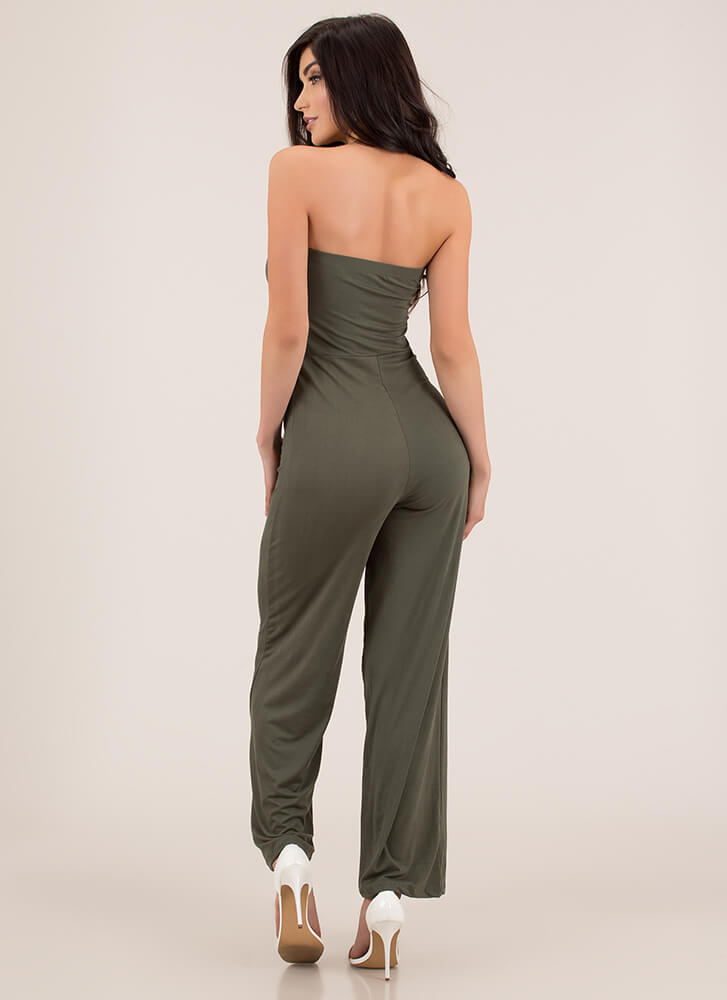 It's On Strapless Wide-Leg Jumpsuit OLIVE