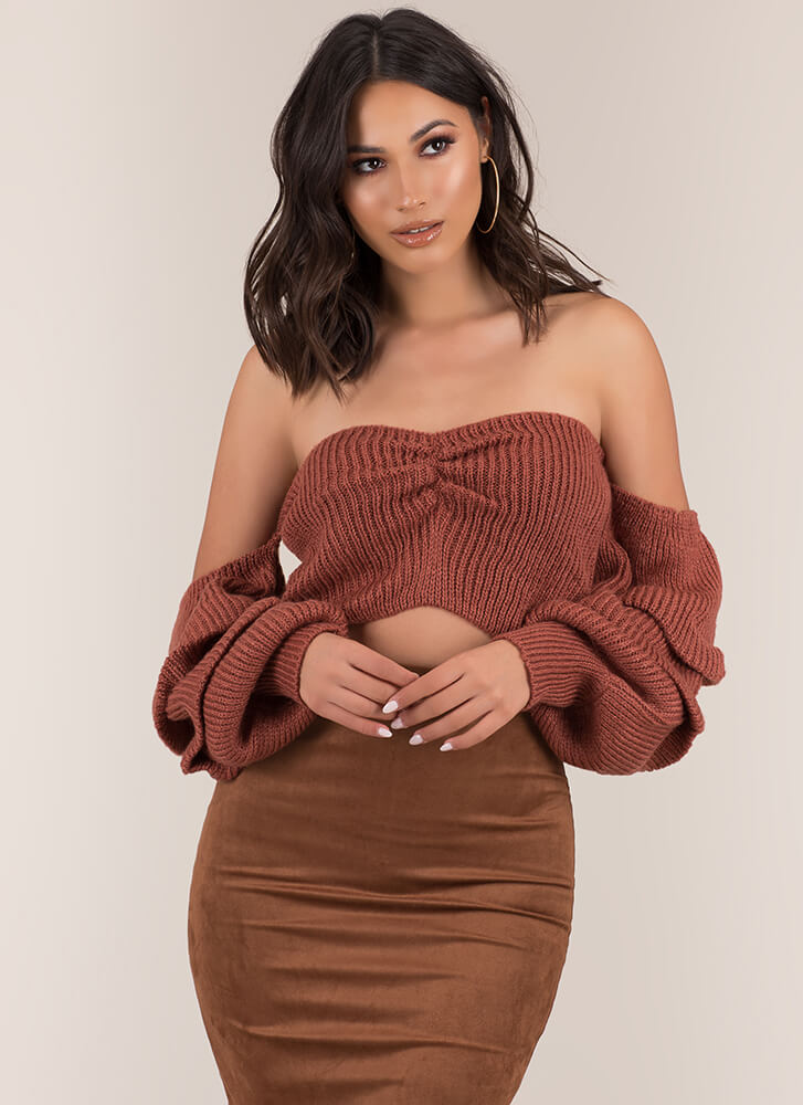 Warm Or Hot Off-Shoulder Sweater Top CLAY