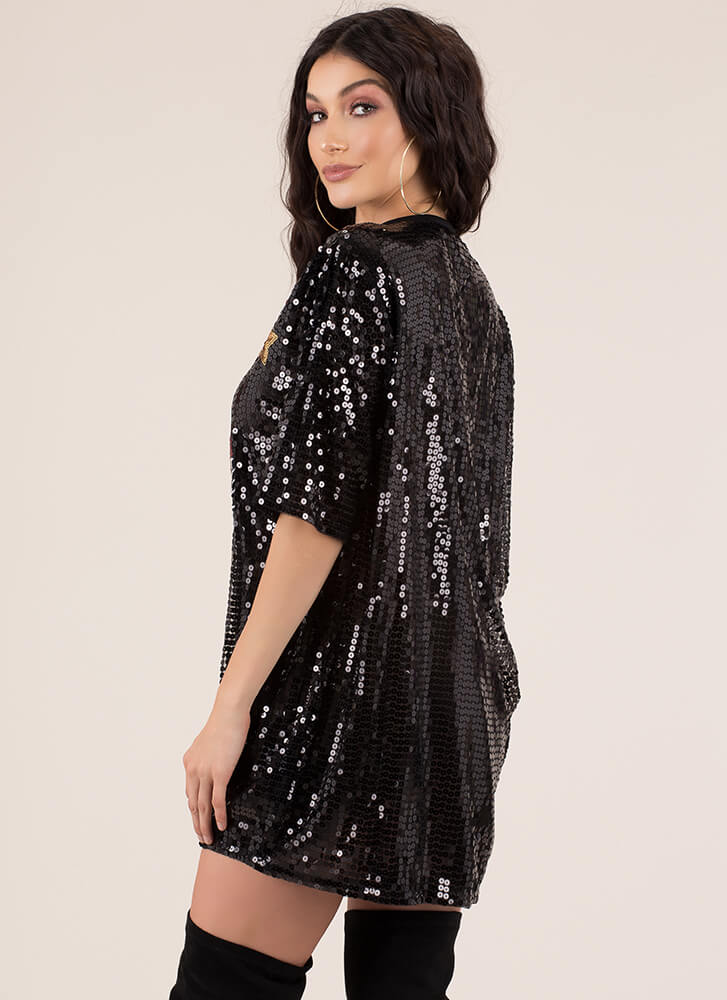 Tiger Tale Sequined Shirtdress BLACK