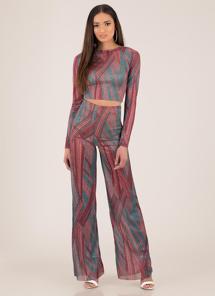 Invite Sparkly Striped Top And Pant Set PINKMULTI (You Saved $16)