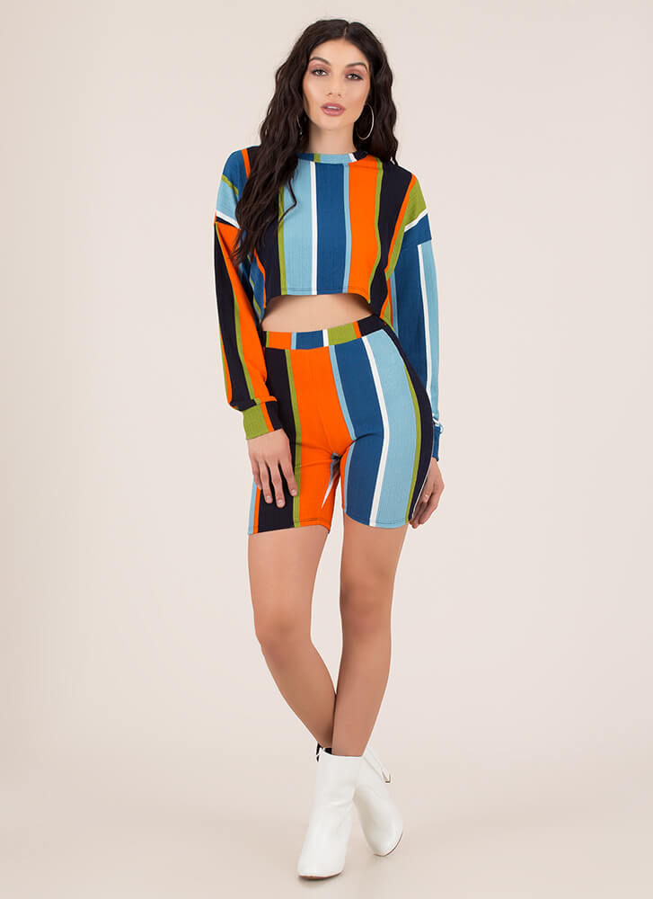 Get Graphic Striped Top And Shorts Set MULTI (You Saved $20)
