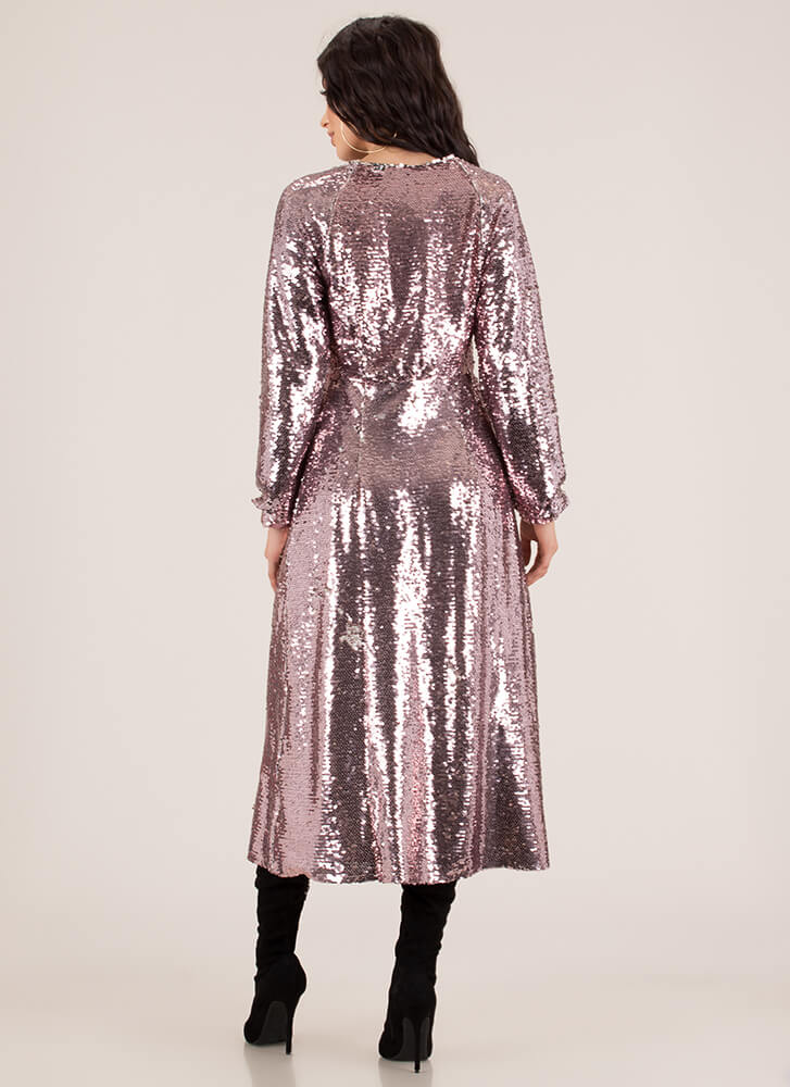 So Much Sparkle Split-Front Sequin Maxi PINK (You Saved $37)