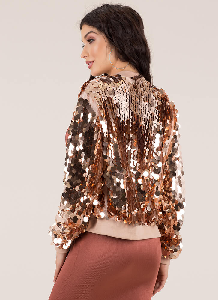 Paillette Party Sequined Bomber Jacket ROSEGOLD