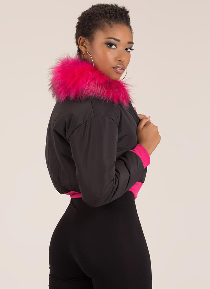 Fur-Ever Yours Puffy Cropped Jacket BLACK
