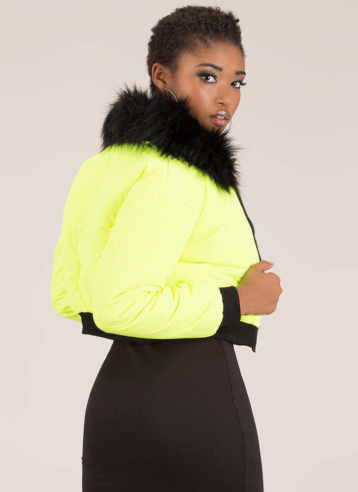 Fur-Ever Yours Puffy Cropped Jacket NEONGREEN