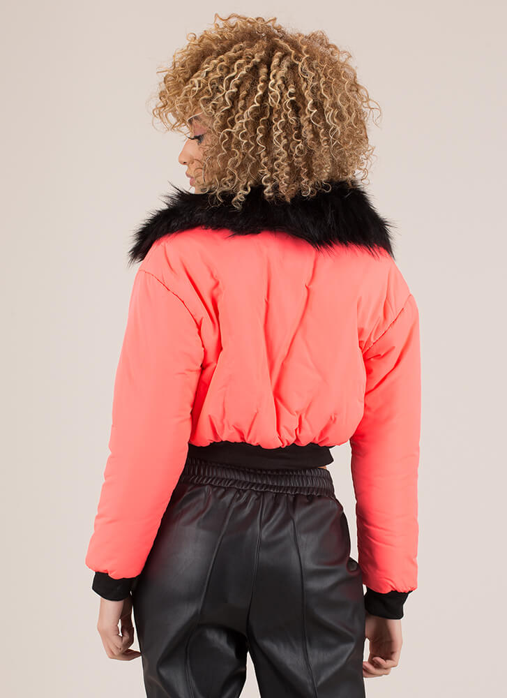 Fur-Ever Yours Puffy Cropped Jacket NEONPINK