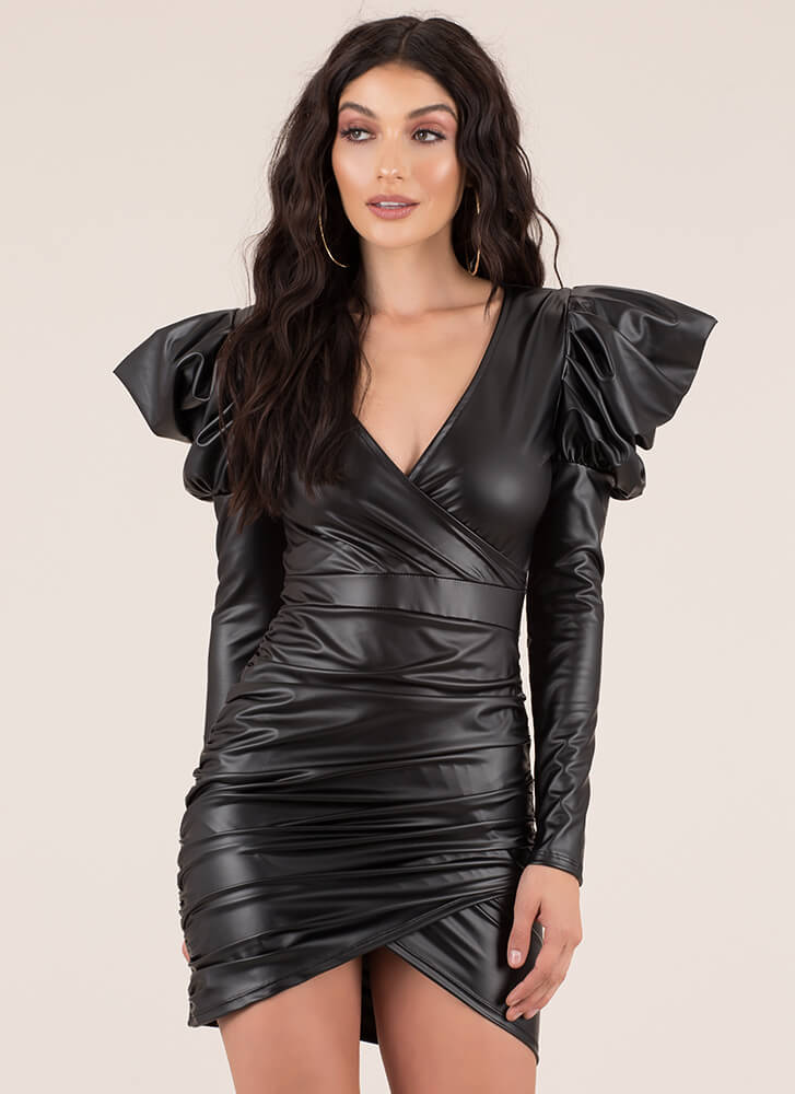 Drama Queen Faux Leather Minidress BLACK