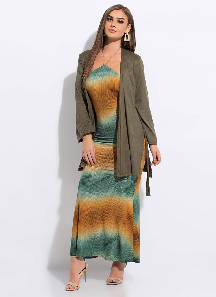 Light Work Tied Faux Suede Duster OLIVE