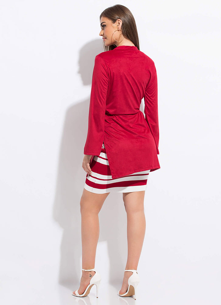Light Work Tied Faux Suede Duster RED