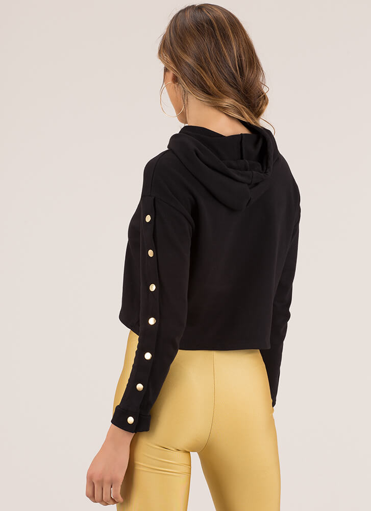 Snap Judgment Buttoned Hoodie Top BLACK