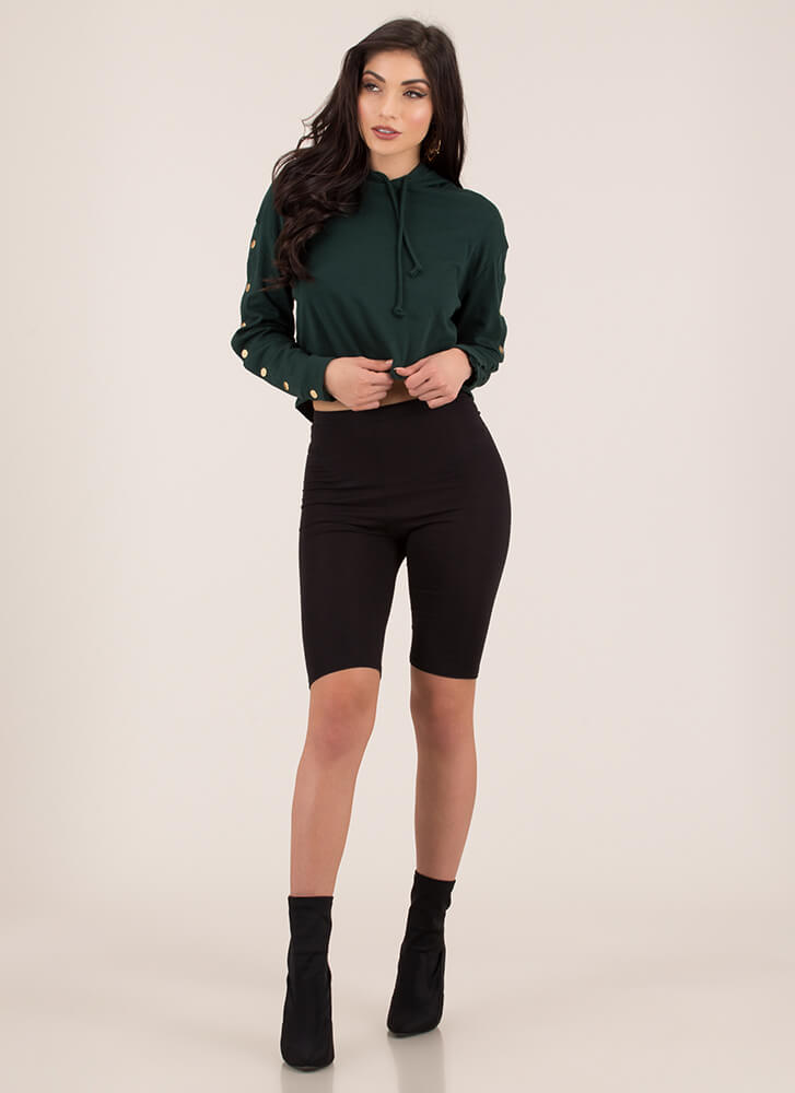 Snap Judgment Buttoned Hoodie Top HGREEN