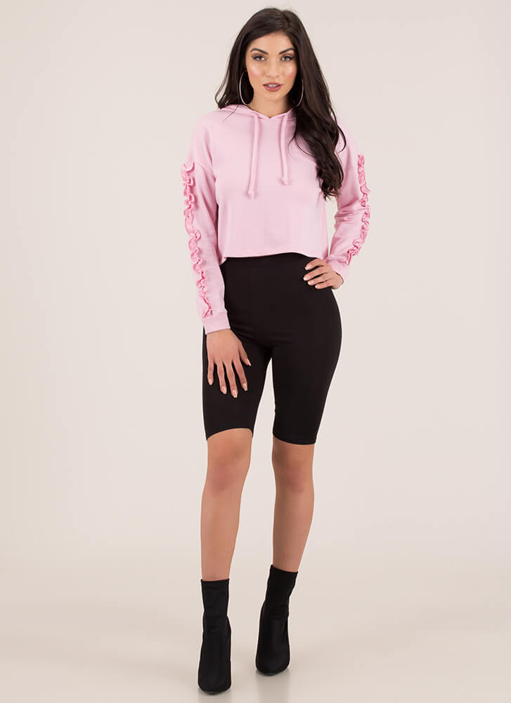 Frill-ing Good Ruffle Sleeve Hoodie Top PINK