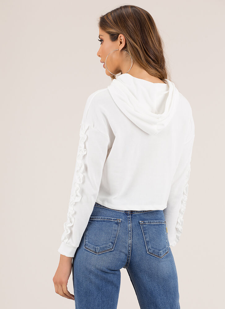 Frill-ing Good Ruffle Sleeve Hoodie Top WHITE