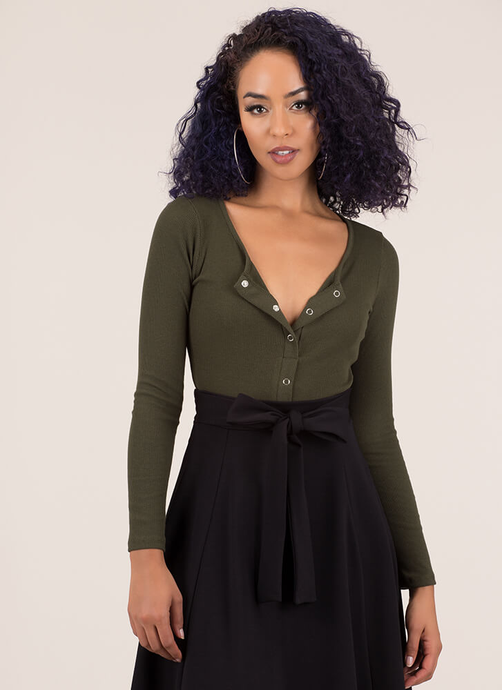 Snappy Comeback Button-Up Crop Top OLIVE (You Saved $7)