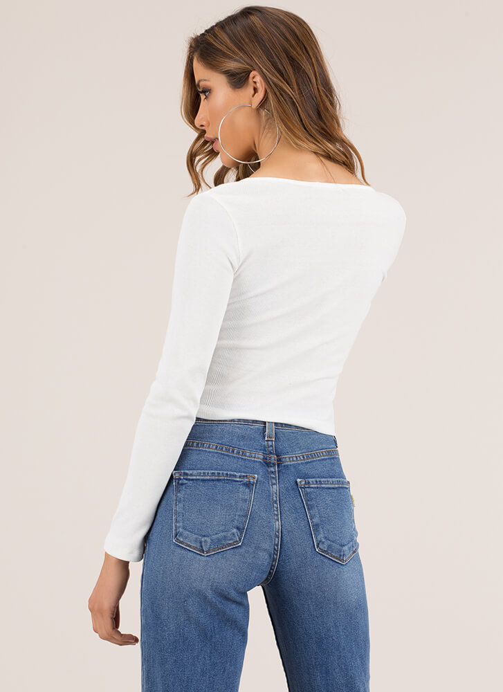 Snappy Comeback Button-Up Crop Top WHITE (You Saved $7)