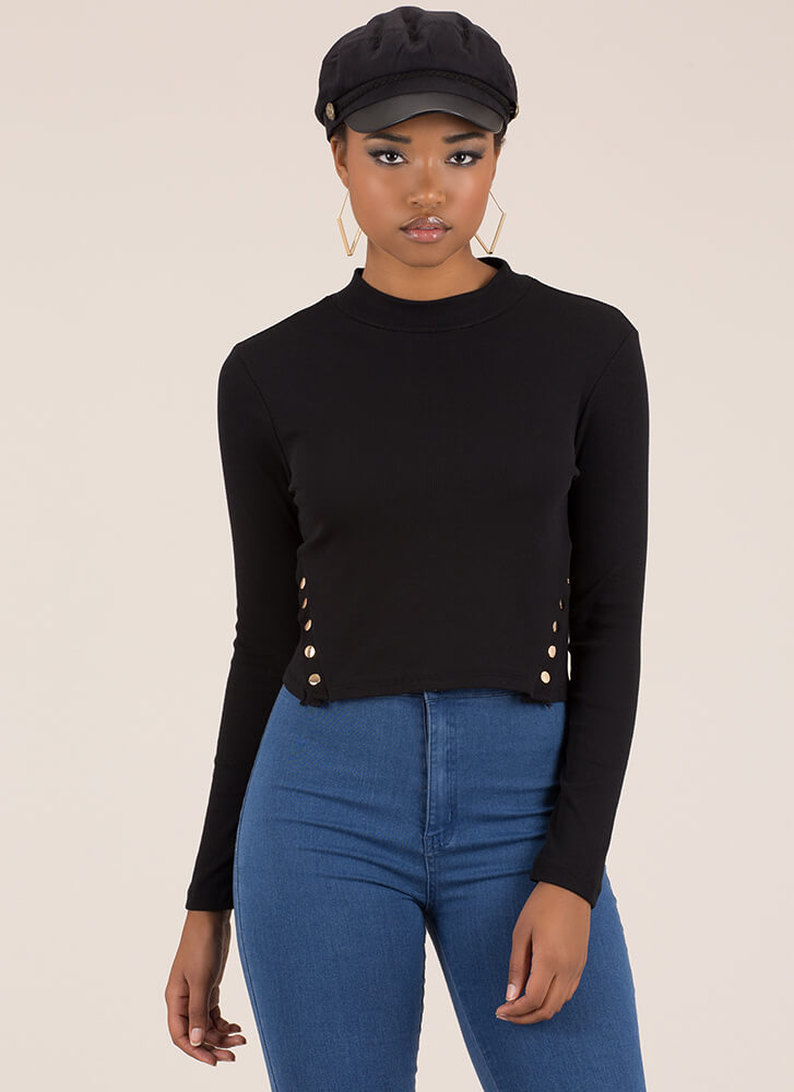 Cute And Casual Snap Button Crop Top BLACK