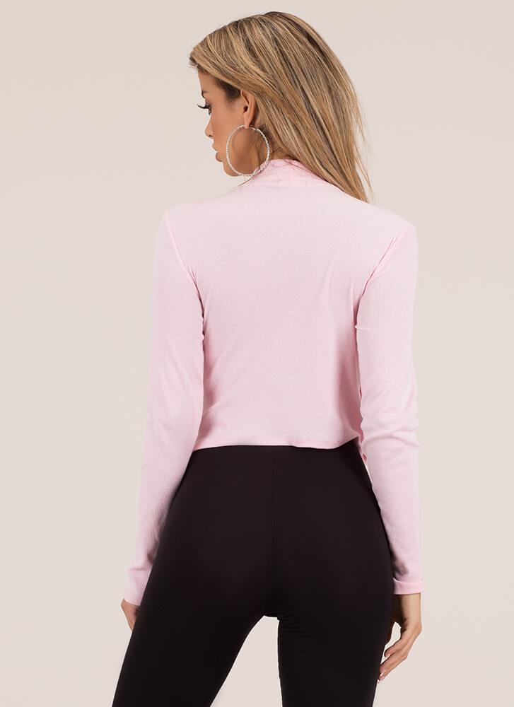 Cute And Casual Snap Button Crop Top ROSE
