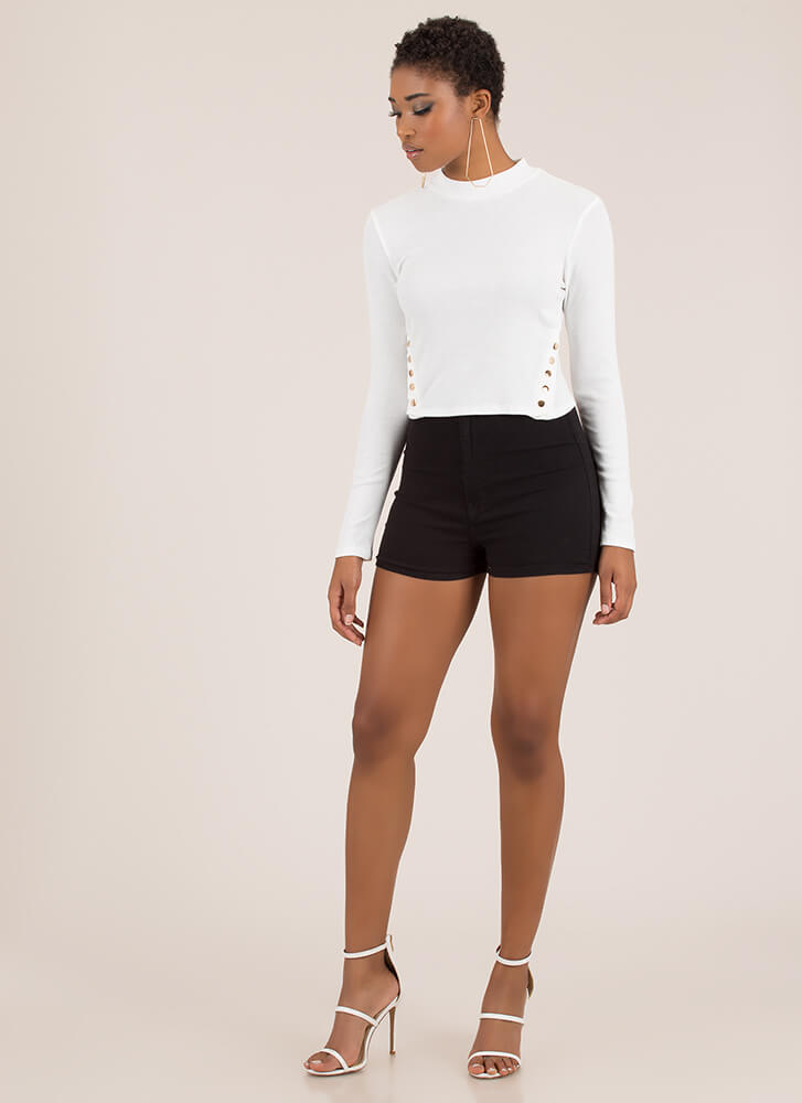 Cute And Casual Snap Button Crop Top WHITE