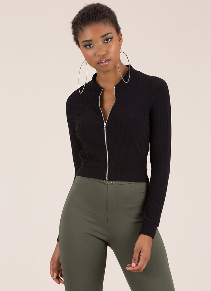 Take It Easy Ribbed Zip-Front Crop Top BLACK
