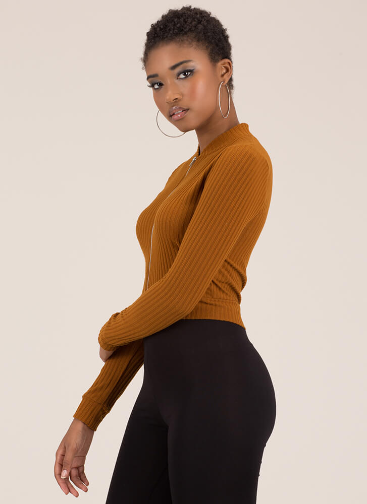 Take It Easy Ribbed Zip-Front Crop Top TERRACOTTA