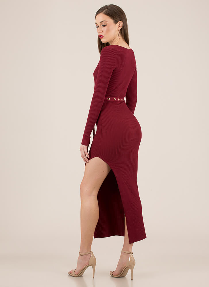 Influencer Belted Rib Knit Maxi Dress BURGUNDY