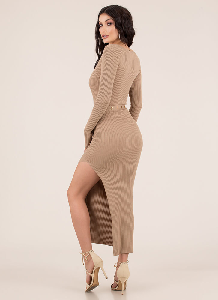 Influencer Belted Rib Knit Maxi Dress TAUPE
