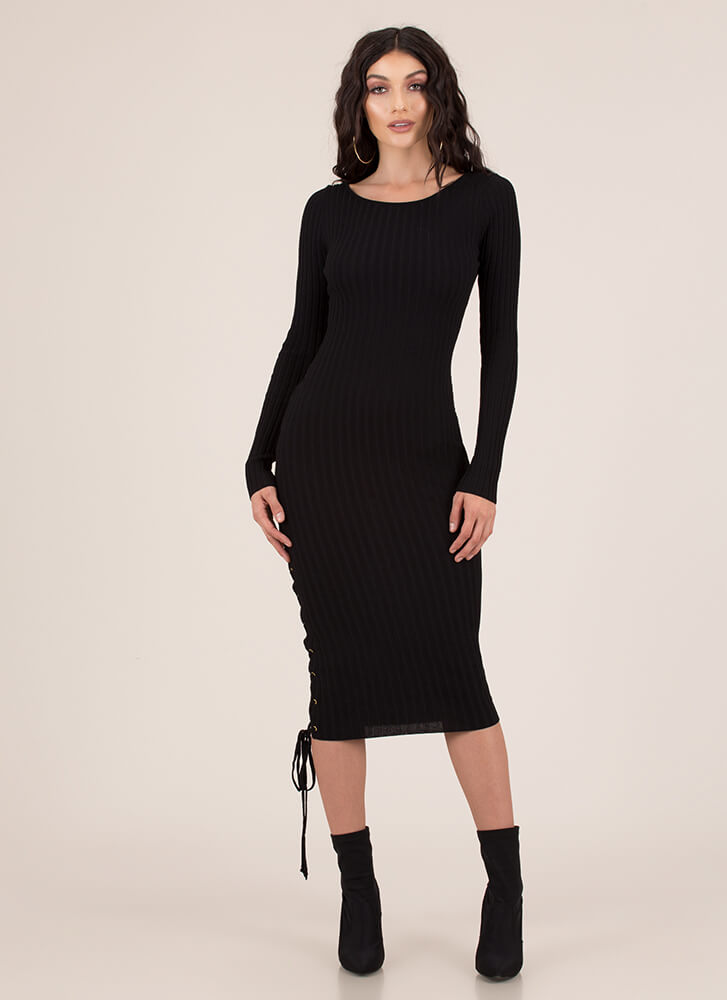 Stay By My Side Ribbed Lace-Up Dress BLACK (You Saved $27)