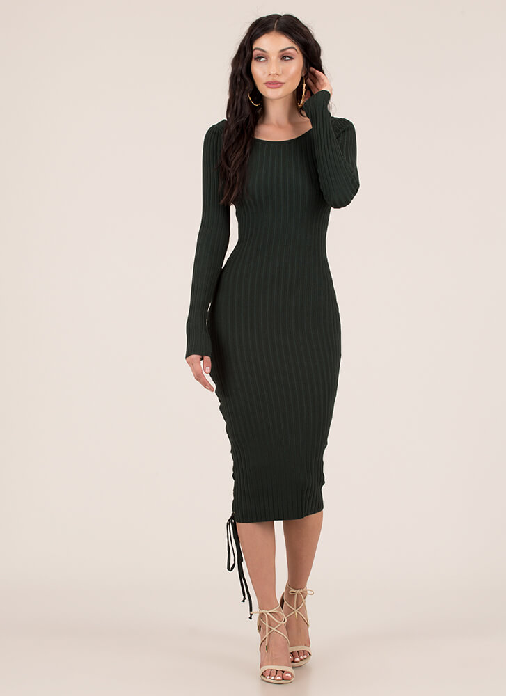 Stay By My Side Ribbed Lace-Up Dress HUNTERGREEN (You Saved $27)