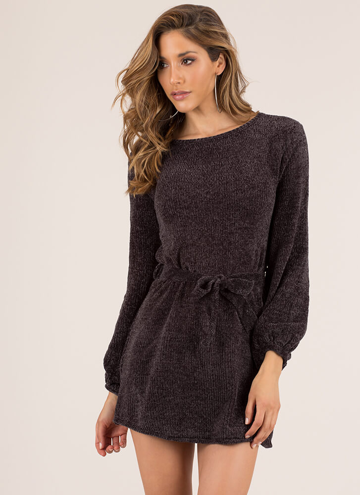 Velvet Ropes Chenille Knit Minidress BLACK