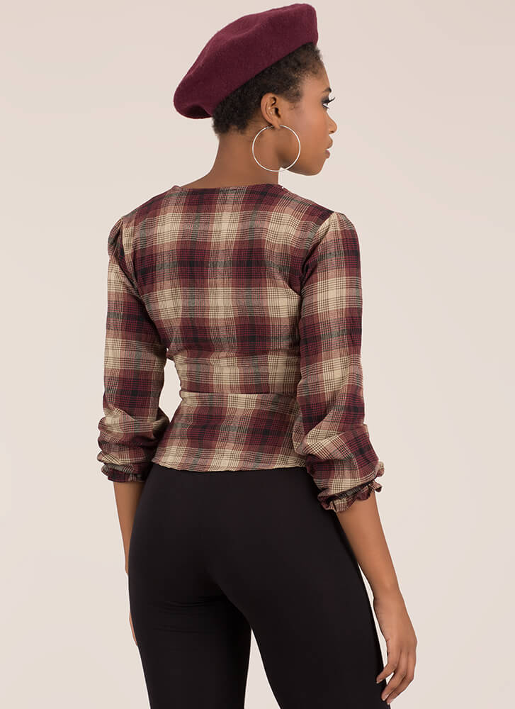 Always In Style Wrapped Plaid Top BURGUNDY