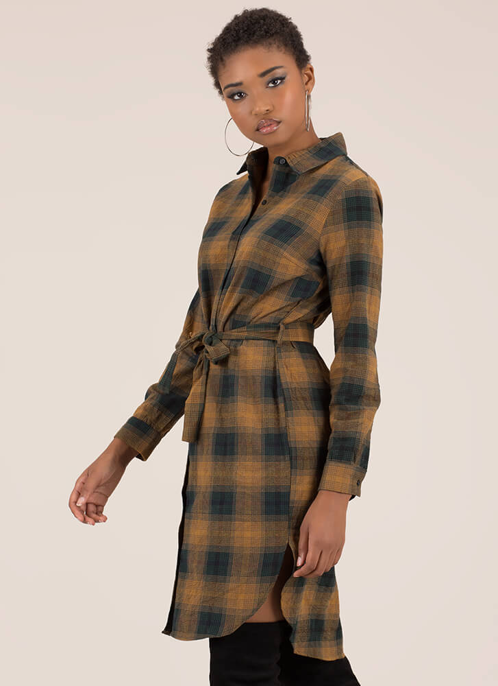 Perfect Plaid Tied Button-Up Shirt Dress CAMEL
