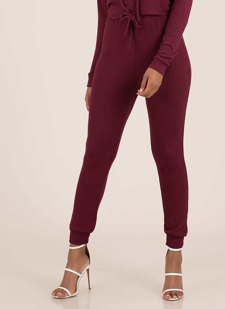 Ease Into It Knit Drawstring Joggers BURGUNDY